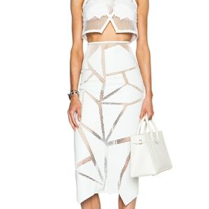 Jonathan Simkhai White Leather Applique Skirt S 4